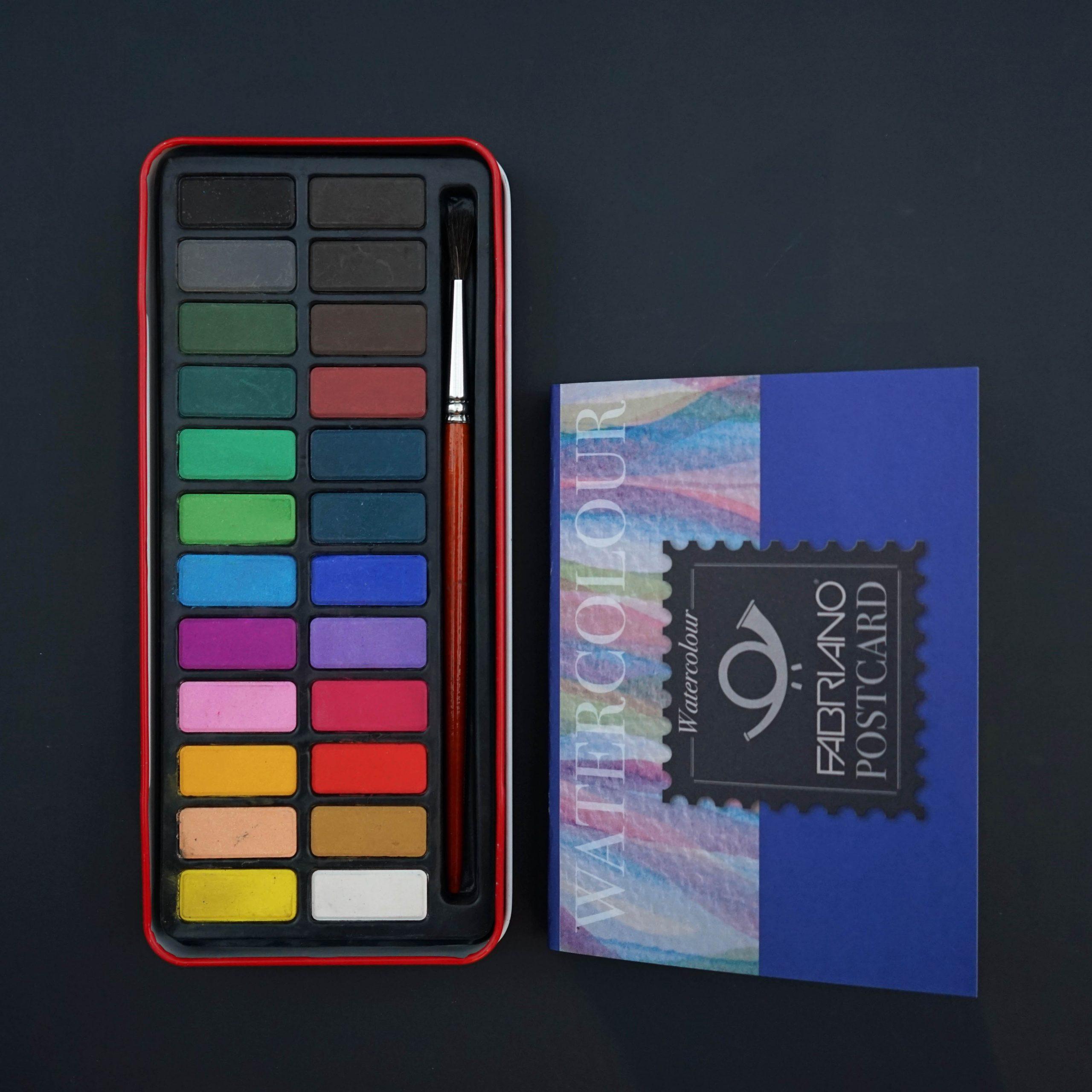 Akvarellisetti + postikorttilehtiö A6 (510035)
